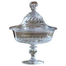 Antique Crystal Glass Bonbonniere - Cut Glass Bonbon Jar #1