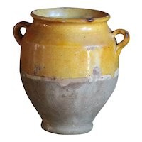 SMALL-- Antique French Yellow-Glazed Terracotta Confit Pot  -19th Century Earthenware