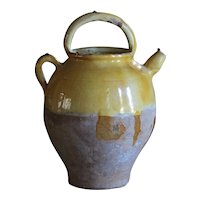 LARGE Antique French Terracotta Cruche - 19th Century Confit Water Pot -Jug