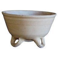 Antique French 3-Footed Glazed Terracotta Bowl - Earthenware Mixing Bowl