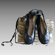 Antique English Gamba Black Ballet Shoes - SMALL Slippers
