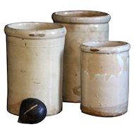 TRIO 19th Century Puglia Italian Terracotta Glazed Confit Preserve Pots