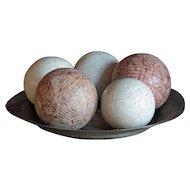Antique Scottish Carpet Bowls -Balls & Jacks