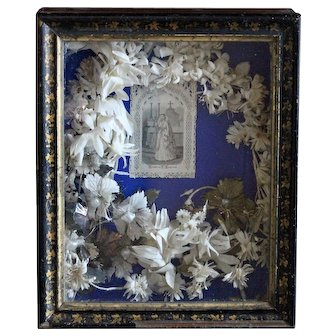 Antique French Holy Communion Keepsake Shadow Box & Holy Card