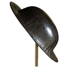 Antique English Miner's Leather Helmet Hat