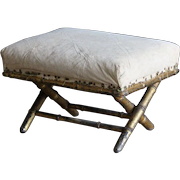 Antique English Upholstered Foot Stool