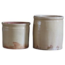 Antique French Confiture Jars - Yellow Gazed Earthenware Confit Pots