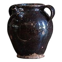 19th C French Glazed Earthenware Water / Oil Jug Pot