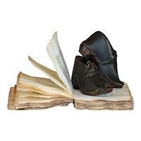 19th Century English Child's Clogs - Leather & Wood Shoes / Boots