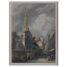 Antique Engraved Print Trinity Church Cambridge c.1845