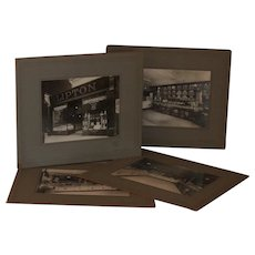 1900s English Lipton Tea Shop Front and Interior Cabinet Photographs