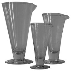 1920s English s Chemist's Conical Glass Measuring Beakers