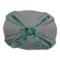Art Deco Stolzle Blue Glass Cake Stand / Tazza - 1930s