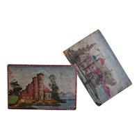 Antique English Bargeware Folk Art Painted Stools - 19th Century Canalware / Bargeware Funiture
