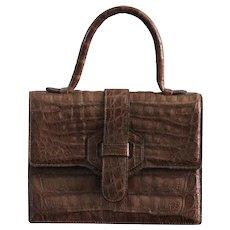 Vintage Modell Goldpfeil Crocodile Leather Handbag