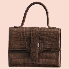 Vintage Modell Goldpfeil Crocodile Leather Handbag