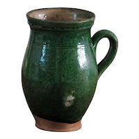 Antique Serbian Green Glazed Earthenware Pot - Balkan Amphora Pottery Milk Jug / Pitcher