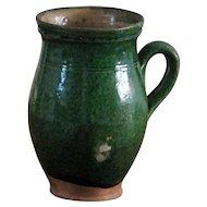 Antique Serbian Green Glazed Earthenware Pot - Balkan Pottery Milk Jug / Pitcher