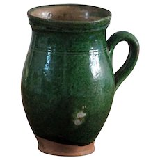 Antique Serbian Green Glazed Earthenware Pot - Balkan Pottery Milk Jug / Pitcher