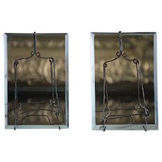 Antique French Picture Frames - Beveled Glass and Wirework Easel