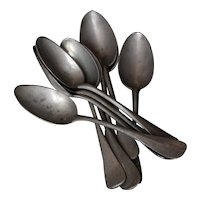 Antique French Pewter Spoons and Serving Spoon