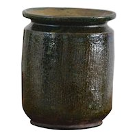 Antique Balkan Serbian Green Glazed Earthenware CONFIT Pot - Preserve Jar