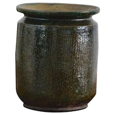 Antique Serbian Green Glazed Earthenware CONFIT Pot