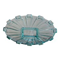 Stolzle Art Deco Blue Glass Centerpiece - Fruit Platter / Bowl / Tazza