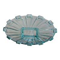 Stolzle Art Deco Blue Glass Centerpiece - Fruit Platter / Bowl / Tazza