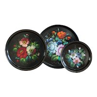 Vintage Hand-Painted Russian Black Lacquered Floral Tea Trays - Tole Painted USSR Folk Art