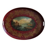 19th Century English Regency Period Red Tole Tray - Antique Toleware