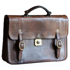 Vintage 1950s English Gents Leather Case - Attaché Document Briefcase Satchel Bag
