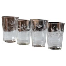 Antique Engraved Glass Tumbler Set - Blown Glass Tumblers / Glasses
