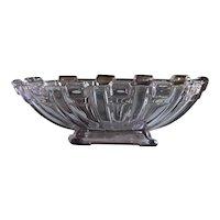 Stolzle Art Deco Amethyst Glass Oval Fruit Bowl - Centerpiece / Tazza