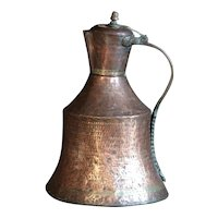 Antique Copper & Brass Turkish Ibrik - Ottoman Water Jug / Pitcher / Ewer
