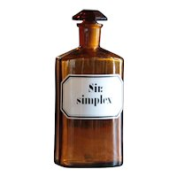 Antique Apothecary - Sir Simplex / Cough Syrup - Amber Glass Pharmacy / Chemist Bottle