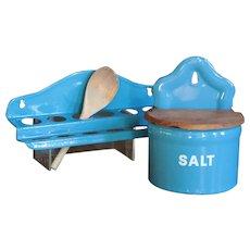 Vintage Danish Enamelware Salt Box Cellar and Spoon Rack - Graniteware
