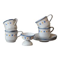 Miniature Child's Toy Enamelware Graniteware Tea / Coffee Cup Set.