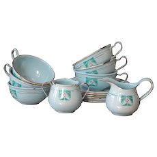 Antique French Child's Toy Enamel Miniature Tea Cup Set - Graniteware / Enamelware
