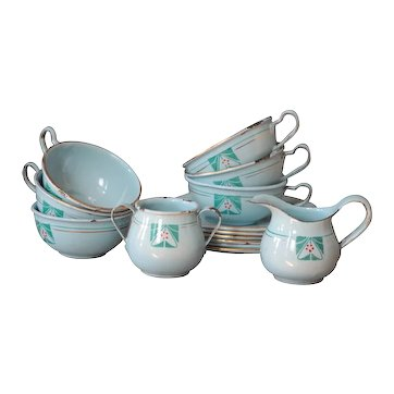 Antique French Child's Toy Enamel Miniature Tea Cup Set - Graniteware / Enamelware