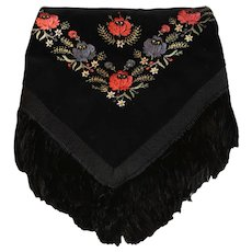 Vintage Balkan Folk Costume Embroidered Velvet Scarf / Shawl / Headdress