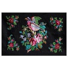 Vintage Serbian Folk Art Hand-Embroidered Wool Panel - 1930s Balkan Wall Hanging