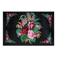 Vintage Serbian Folk Art Hand-Embroidered Wool Panel - 1930s Balkan Wall Hanging #2