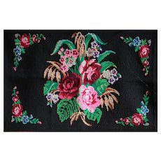 Vintage Serbian Folk Art Hand-Embroidered Wool Panel - 1930s Balkan Wall Hanging #2