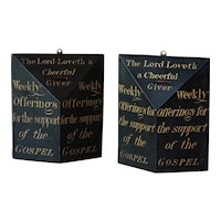 19th Century English FOLK ART Painted Church Collection Boxes - Antique Hanging Offerings Box Sign.