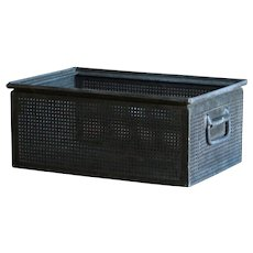 Vintage Industrial Factory Metal Storage Crate Bin / Box / Tote