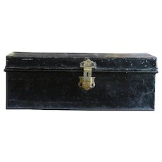 Antique English Metal Trunk - Luggage Case
