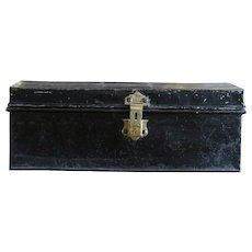 Antique English Metal Trunk - Luggage Case