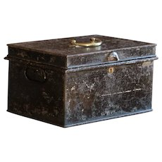 Antique Victorian English Metal Deed Document Box