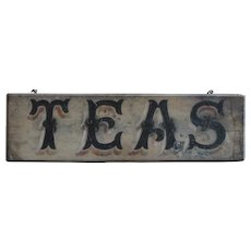 Antique English Painted Wood Merchants TEAS Trade Sign - 19th Century Folk Art Grocery Shop Provisions Sign
